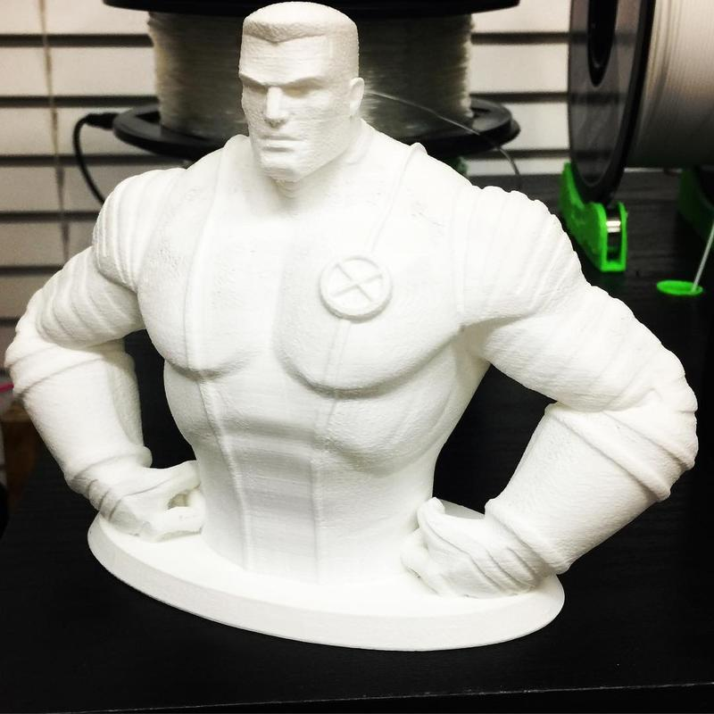 The build area of the printer is 7.9 x 7.9 x 7.1 inches (200 x 200 x 180 mm). It lets you print even a Colossus bust, just like the one pictured here