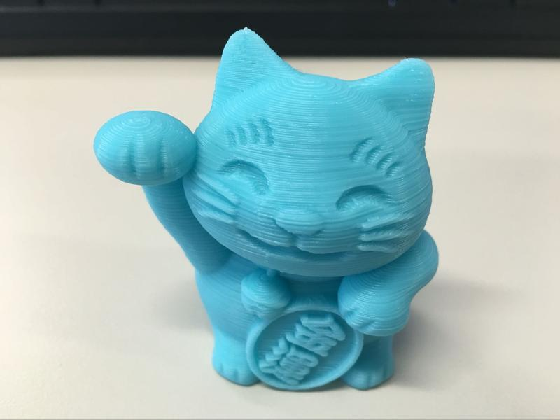the chainese cat printed on the Monoprice Maker Select Mini v2 3D Printer