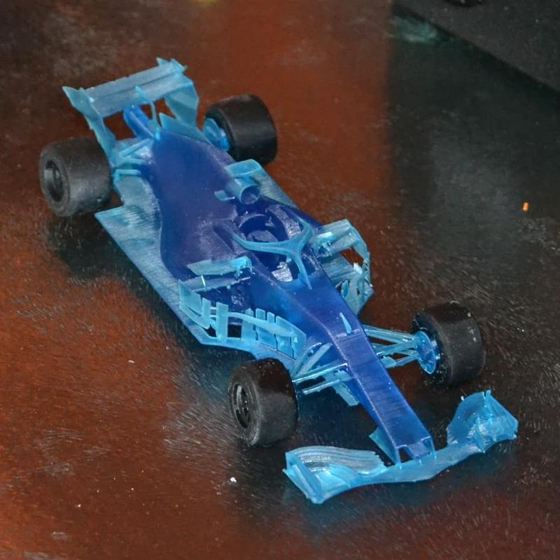Red Bull RB 14 F1 V1 with Deep Blue and Stone Coal Black resin. The car has been printed at 0.1mm while the tires at 0.35mm.