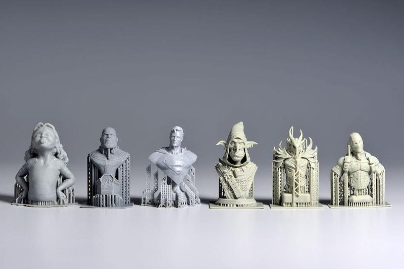 models printed in different materials on the Phrozen Shuffle XL 3D Printer