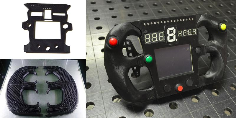 some parts of this steering wheel have been   printed with ABS.