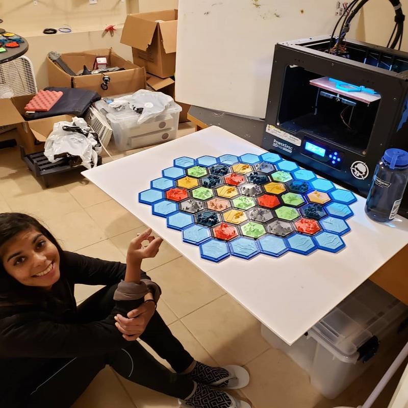 By using PowerSpec 3D Pro 2 one user printed 3D Settlers of Catan set, a multiplayer board game!