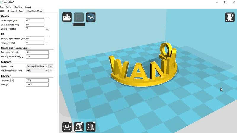 The PowerSpec i3 Plus is compatible with the Wanhao version of the Cura software.