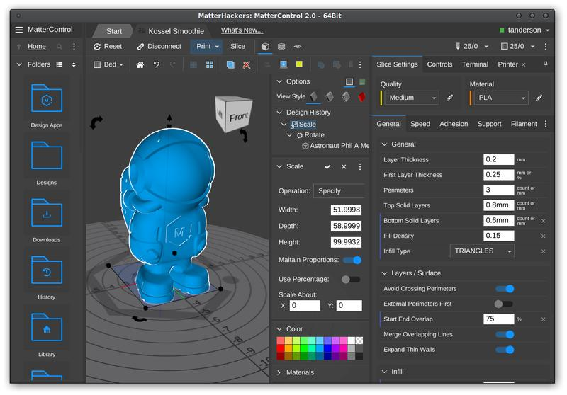 When buying a Pulse 3D printer, it will arrive with pre-configured software and settings already loaded into your MatterControl account. MatterControl is the company free, all-in-one software package and it is available for Windows, Mac, and Linux.