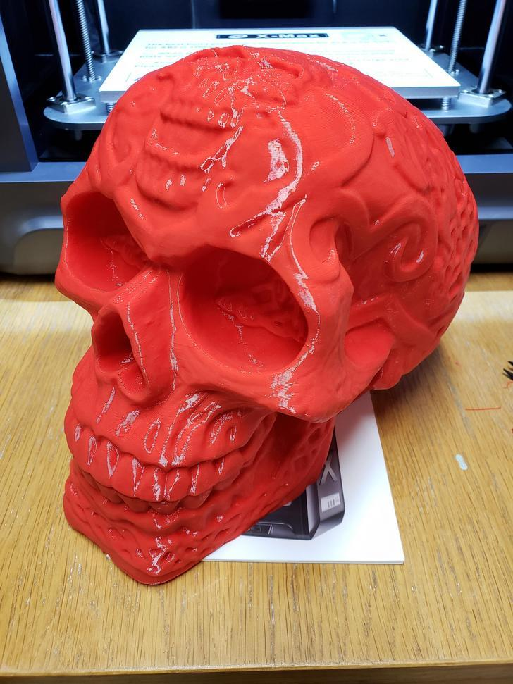 The Qidi Tech X-MAX is an FDM 3D printer that can print layers at 100 microns/ This skull has been printed in 26 hours.