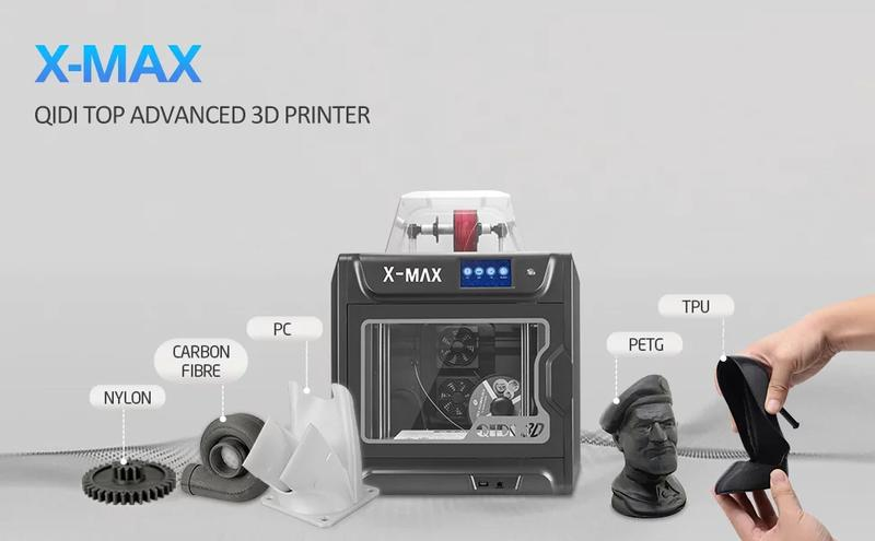 The Qidi Tech X-MAX prints with 1.75 mm filament and has an open feeding system, providing you with a wide choice of materials.
