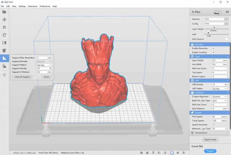 The printer software, QIDI Print, is based on the well-known Cura slicer. It is compatible with Windows and Mac OS X. Easy-to-use, it works with 3D models in x3g and G-code formats