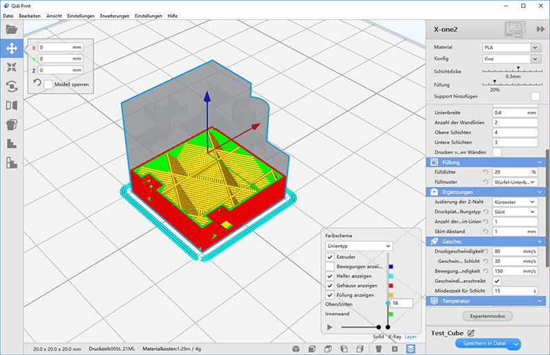 The printer software, QIDI Print, is based on the well-known Cura slicer. It is an intuitive, thorough program compatible with Windows and Mac OS X.