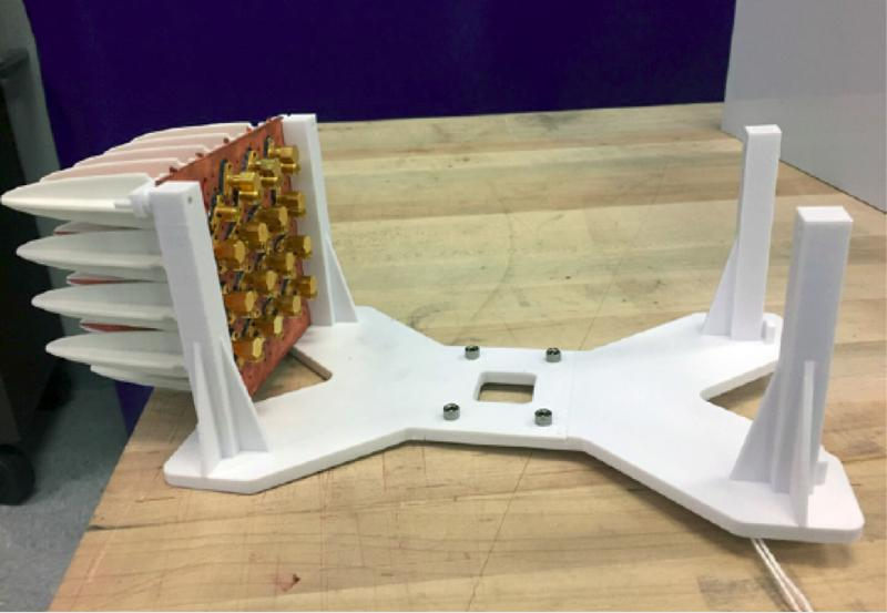 """SI2 3D printed a 4"""" x 4"""" Vivaldi Notch test apparatus. Eventually, the 3D printed prototype will be scaled to full size for a military application."""