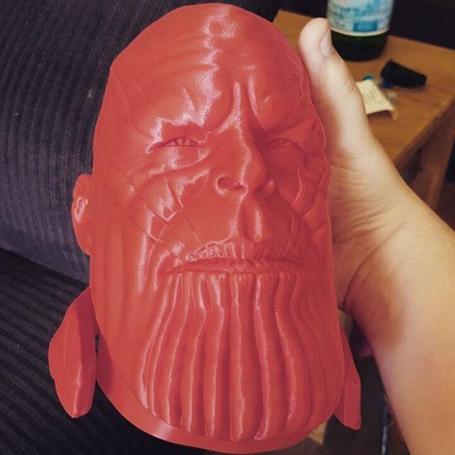 3D printed Thanos' head. It looks enough smooth and well-detailed.