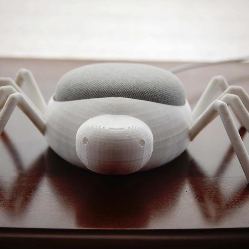 a spider-shaped speaker box. Despite the visible layers, the print completed successfully turning out well.