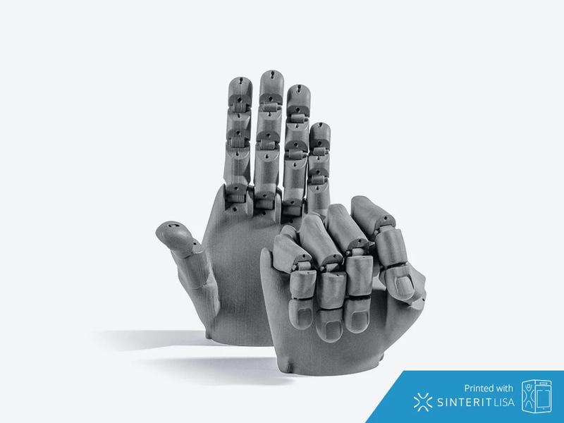 It can also print movable parts ensuring high dimensional accuracy. This robotic hand looks perfect.