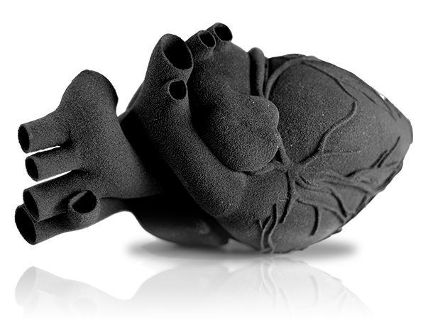The heart printed on the Sinterit Lisa Pro 3D printer