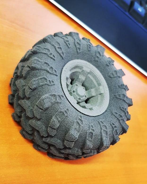 One user printed this highly detailed tire with TPE powder. Notice how accurate it is.