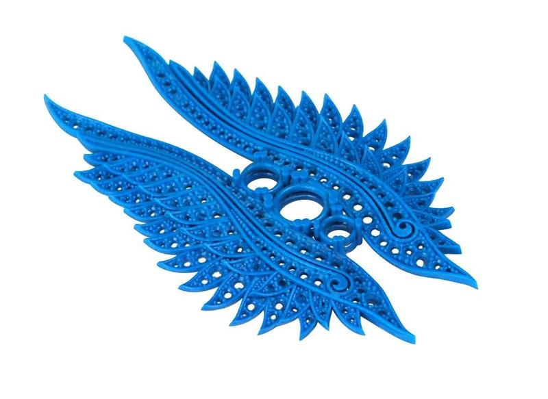 This intricate wings brooch is ready for lost wax casting. It is extremely accurate and well-defined.