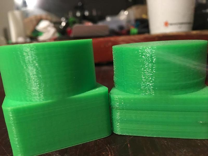 One user realized two versions of the same model. The first one, on the right, has been printed after the first calibration, the second one in a later moment