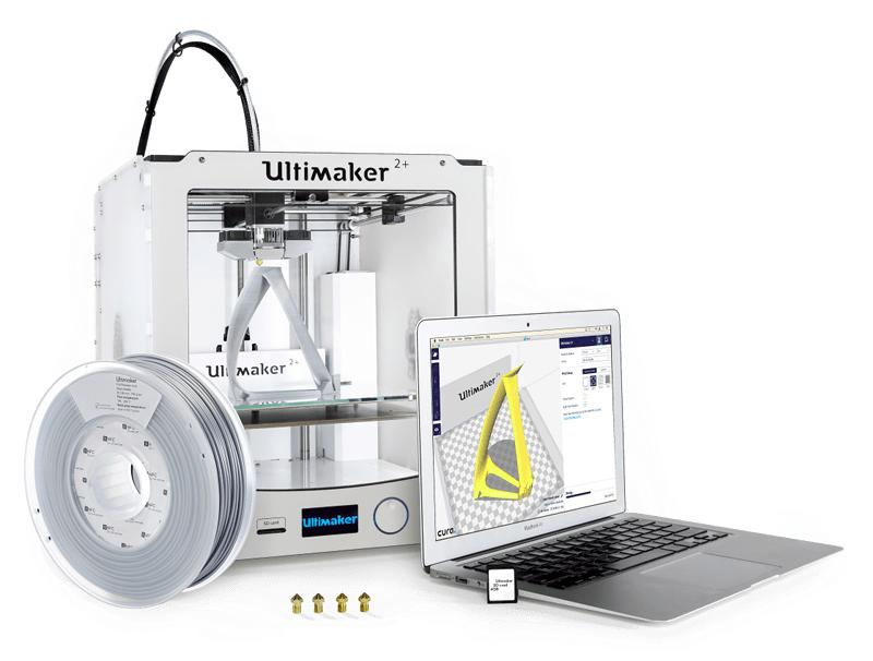 laptop with 3d printer ultimaker 2+