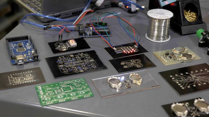 The Voltera V-One is a PCB printer that can print substrates at 100 microns