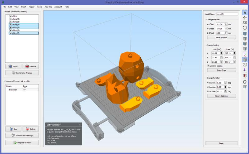 The software works with 3D models in STL format and is available for Windows, Linux, and Mac OS X.