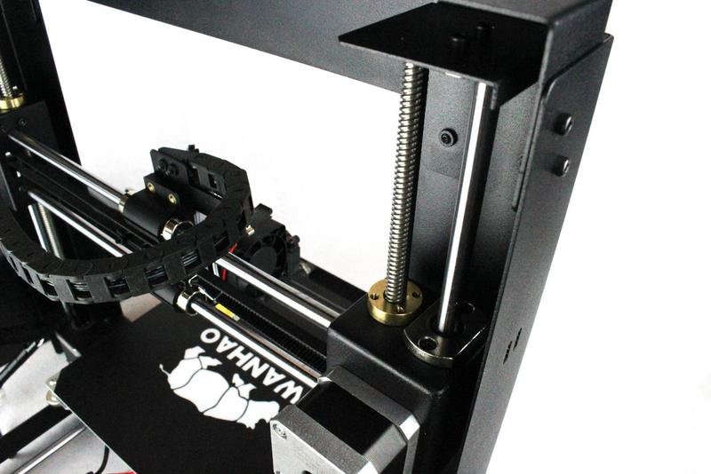 The print head runs on rods with linear bearings, making the design more simple.