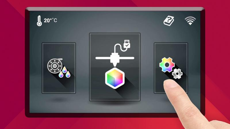 """The printer is controlled via an easy-to-use, built-in 5"""" color touch screen."""