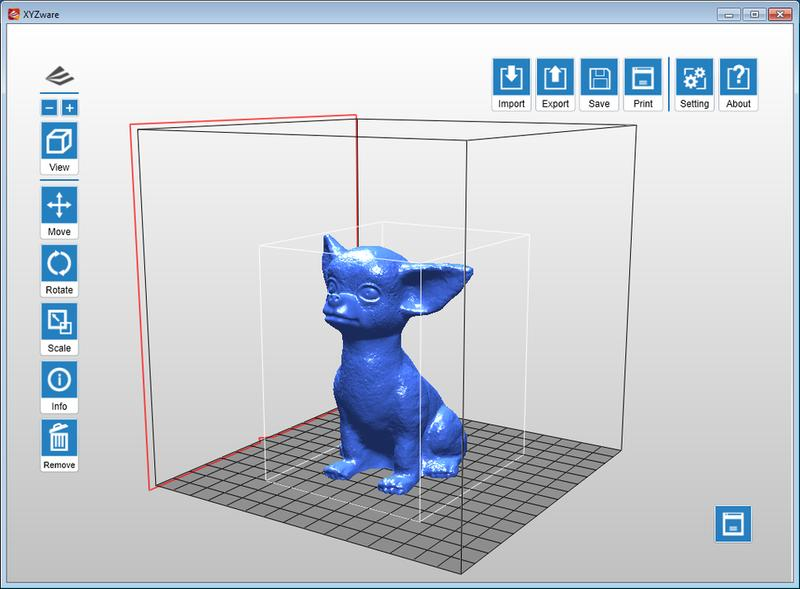 The printer software, XYZware, works with the most common 3D model formats (STL, OBJ, DAS)