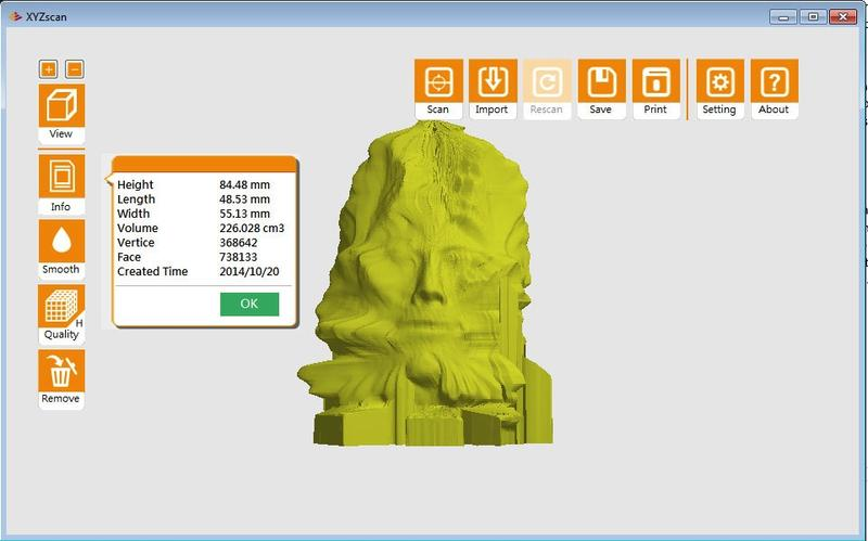 After scanning a model, the integrated XYZscan software shows a preview of the detected edges