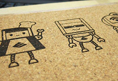 The laser engraver works with paper, cardboard, foam, leather, and wood.