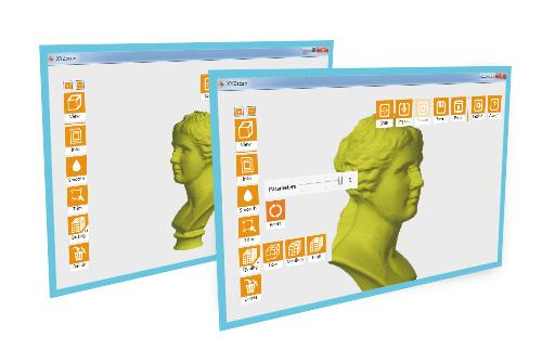 The 3D scanner works with the XYZscan software. It comes bundled with the machine and allows quick editing of the objects.