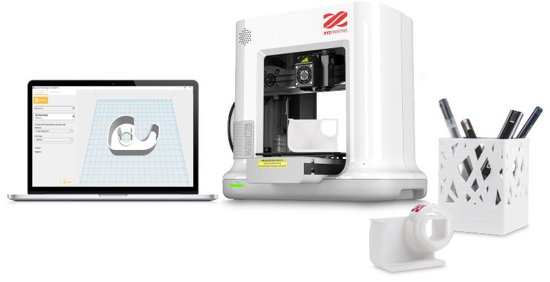 XYZprinting Da Vinci Mini w+ 3D printer with a notebook