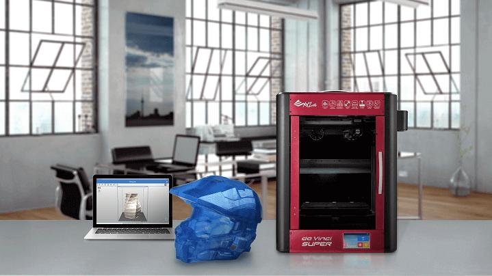 the XYZprinting da Vinci Super 3D printer with a printed model and a notebook