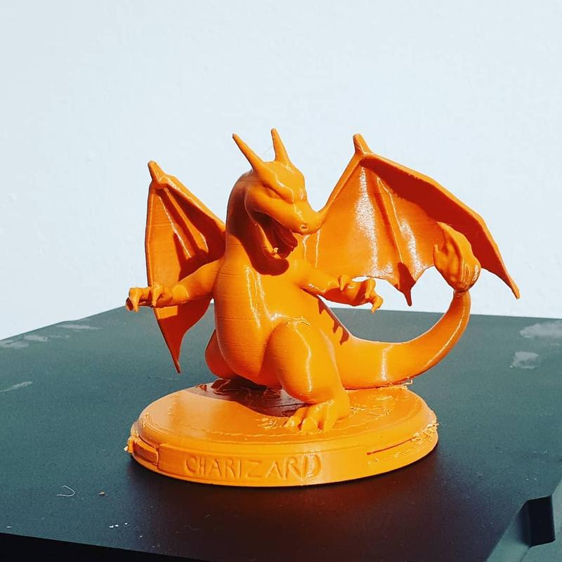 this powerful Charizard has been printed with ABS. As you can see, the printing results are pretty good and detailed.