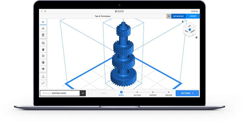 The printer comes packaged with the own-brand Z-SUITE 2 slicing software. The program introduces a variety of features and tools for easier 3D model preparation