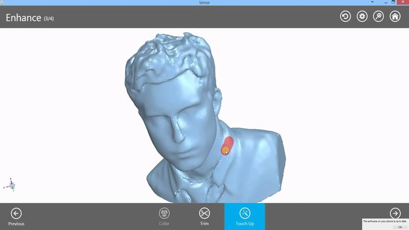 The SENSE 3D software lets you export data to OBJ, WRL, STL, and PLY formats.