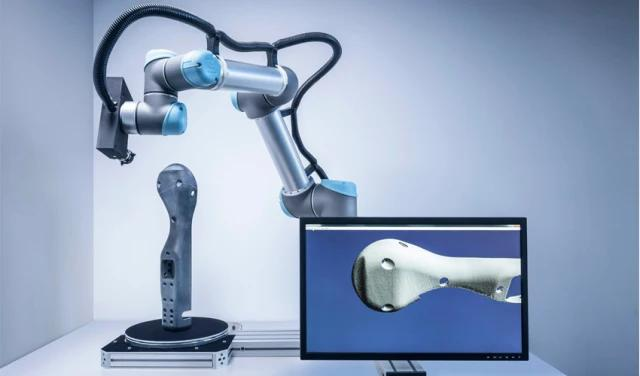 The UR3 robot arm has a working radius of 500 mm. It can easily manipulate the Space Spider, which has a scan range of 90 x 70 mm - 180 x 140mm. Thus, the RoboticScan can capture quickly small-to-medium-sized objects starting from 5 mm.