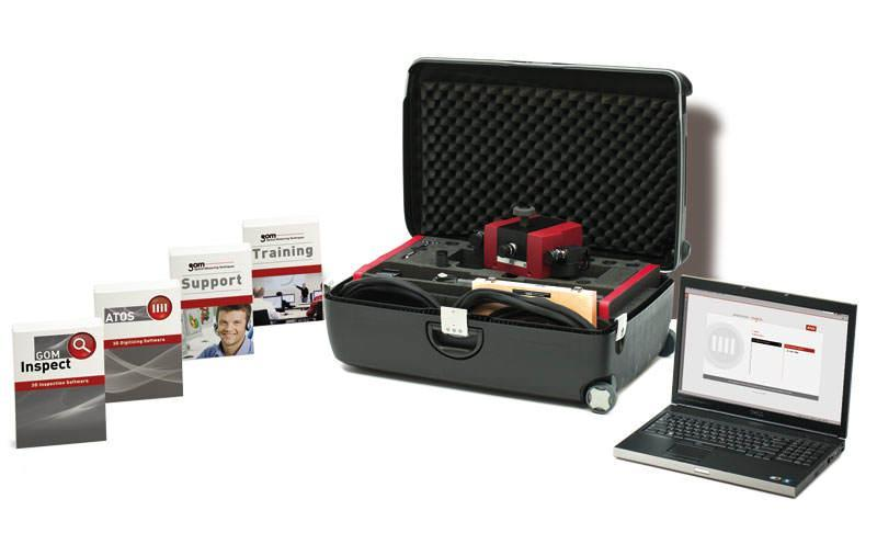the GOM Compact Scan 3D scanner box