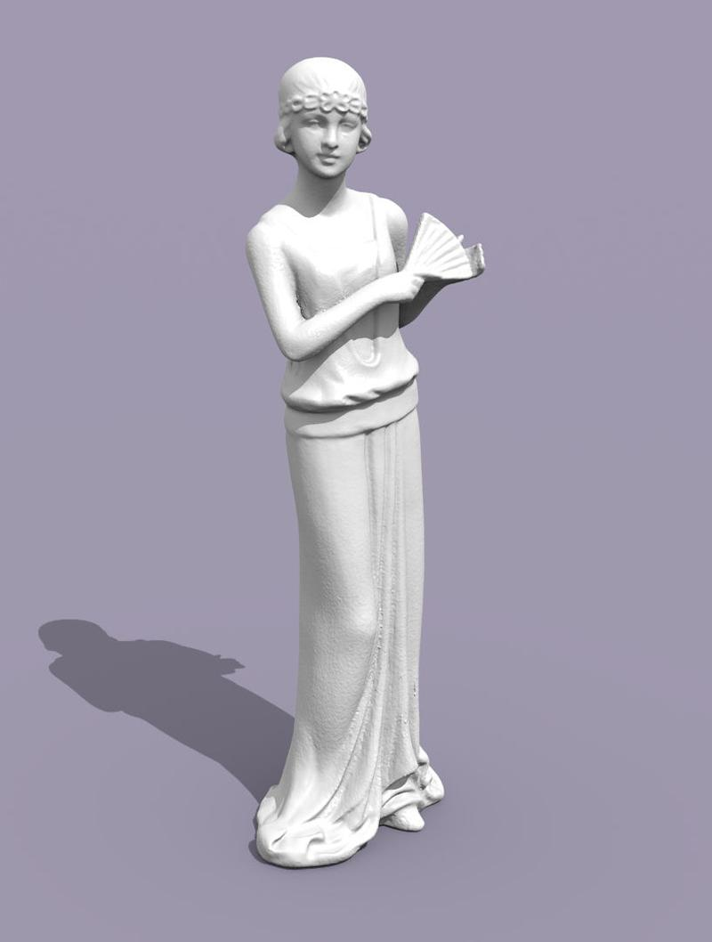 One user scanned a 15.75-cm tall figurine. This is how the final mesh looked like. You can even see the little folds of the dress.