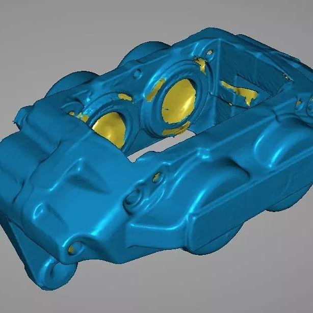 The detailed results provided are a great aid for custom-fit design, reverse engineering, and cataloging. For instance, one user 3D scanned a Subaru caliper for a rally Cuda project. Look at the final resuit