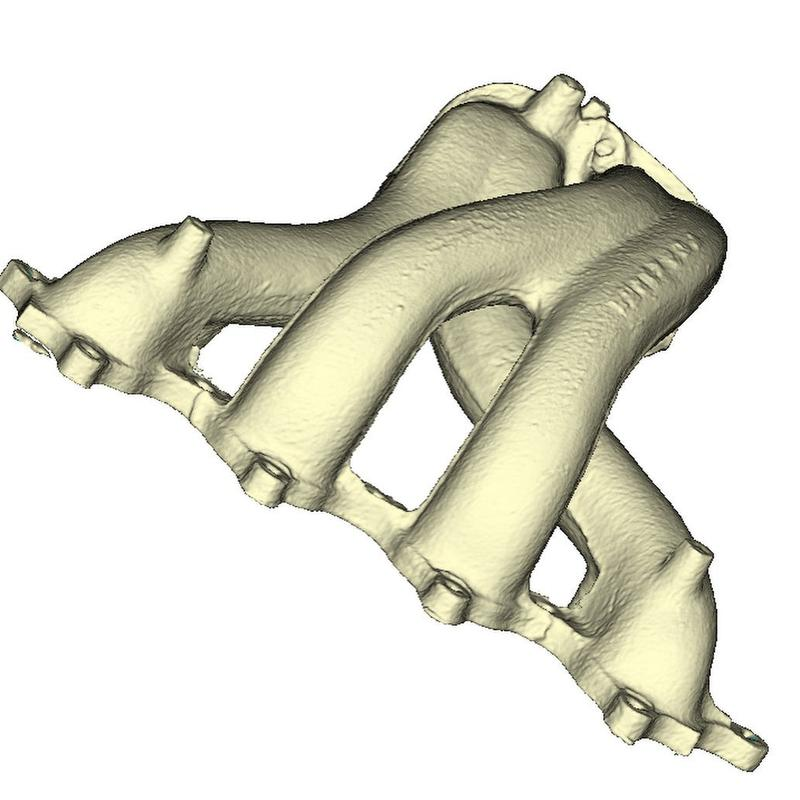 It took about 5 minutes to scan this exhaust manifold 3D-scan. After 10 minutes of post-processing, here is how it looks like.