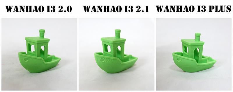 Benchy test: A side-by-side comparison of 3 ABS models (Wanhao Duplicator i3 2.0, 2.1 and i3 Plus)