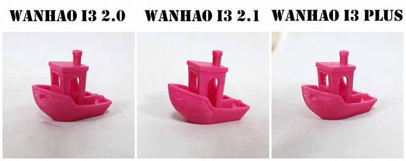 Benchy test: A side-by-side comparison of 3 PLA models (Wanhao Duplicator i3 2.0, 2.1 and i3 Plus)